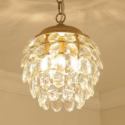 Globe Foyer Hallway Chandelier Metal 1 Light Luxurious Gold Pendant Lamp with Clear Crystal