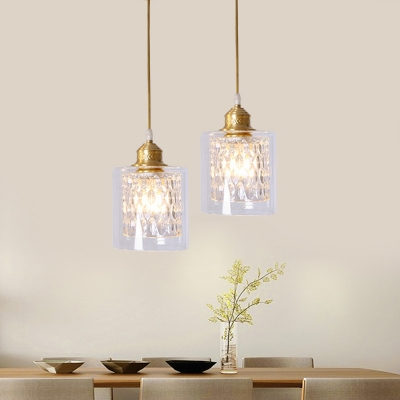Clear Crystal Cylinder Pendant Light Kitchen Bathroom 1/3 Heads Traditional Hanging Light in Gold