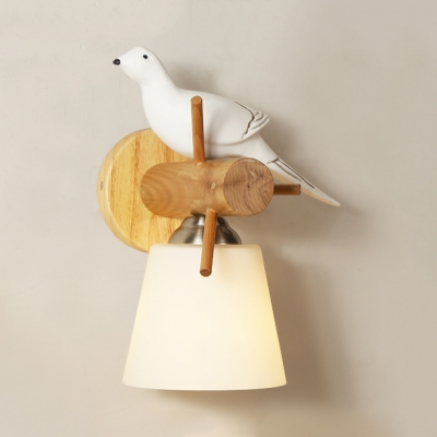 Metal Bucket Wall Light with Resin Pigeon Dining Room One Bulb Nordic Style Wall Lamp in White