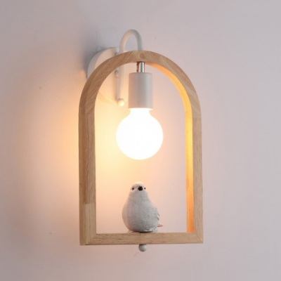 Child Bedroom Bird/Cupid Wall Light Wood Single Bulb Rustic Style White Wall Lamp