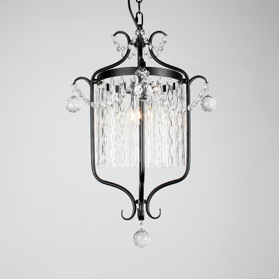 Bird Cage Balcony Pendant Light with Crystal Deco Wrought Iron Country Chandelier in Black/White
