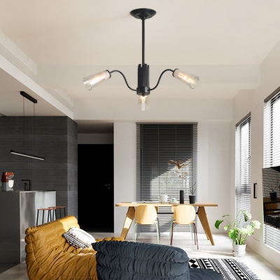 Black Tapered Shade Hanging Light 3/6/8 Lights Simple Style Clear Glass Ceiling Pendant for Dining Room