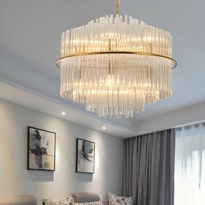 Clear Glittering Crystal Drum Pendant Light Living Room 5 Lights Romantic Chandelier in Gold