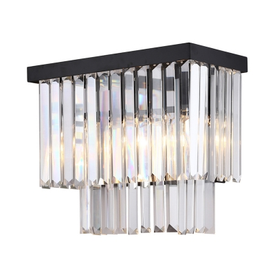 Clear/Smoke Crystal Rectangle Wall Light Luxurious Style Sconce Light in Black for Corridor