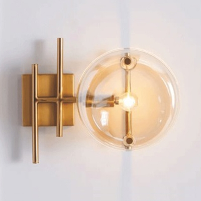 Cognac Glass Round Shade Wall Lamp Post Modern 1 Head Wall Lighting for Bedside Bathroom