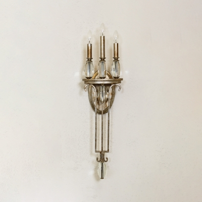 Colonial Style Candle Sconce Light with Crystal Iron 3 Bulbs Aged Steel Wall Lamp for Hallway