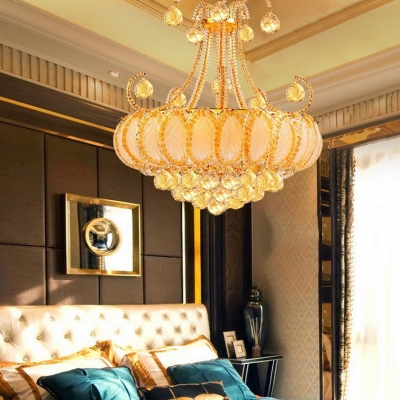 Luxurious Crown Hanging Pendant with Glittering Crystal Wrought Iron Chandelier in Chrome/Gold for Villa Hotel