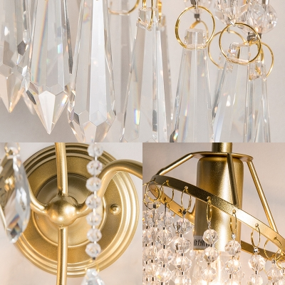 Metal Branch Sconce Light Living Room Two Lights Traditional Wall Light with Crystal Bead in Gold