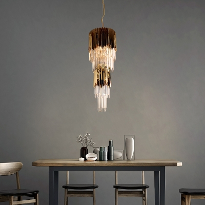 Metal Cylinder Chandelier Light Dining Table Cafe Luxurious Style Pendant Light with Glittering Crystal