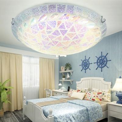 Mosaic Simple Circle Ceiling Lamp 1 Light Glass Flower/Leaf Flush Mount Light for Cloth Shop