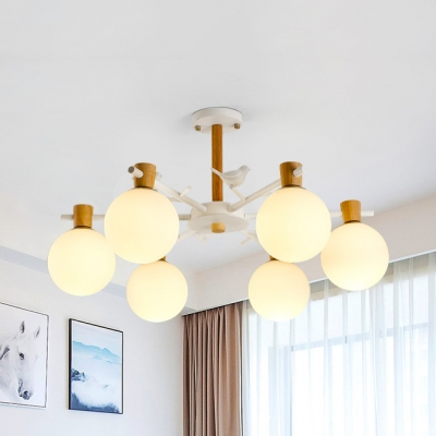 Opal Glass Orb Chandelier with Bird 3/6 Lights Nordic Style Pendant Light in White for Balcony