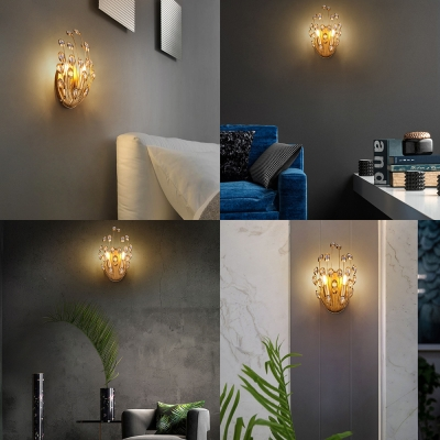 Peacock Dining Room Wall Light with Striking Crystal Metal 2 Lights Glamorous Wall Lamp in Gold