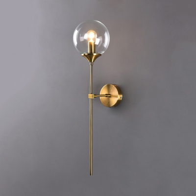 Post Modern Sphere Shade Wall Lighting Glass 1 Bulb Wall Lamp in Amber/Clear/Smoke