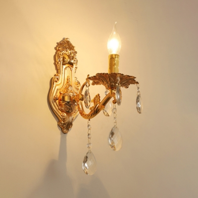 Resin Candle Sconce Light Bedroom Hallway 1/2 Lights Elegant Style Wall Lamp in Gold Finish