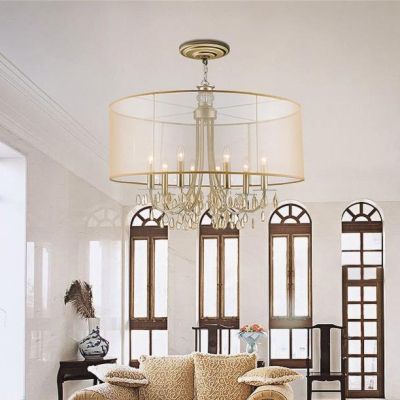 Vintage Candle Chandelier with Fabric Drum Shade & Crystal 5/8 Lights Metal Pendant Light in Champagne for Dining Room