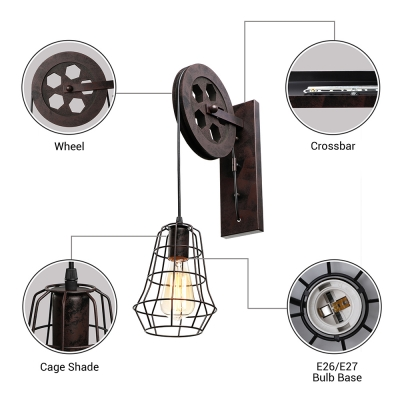 Industrial Wall Sconce with Hanging Cord and Metal Cage, Black