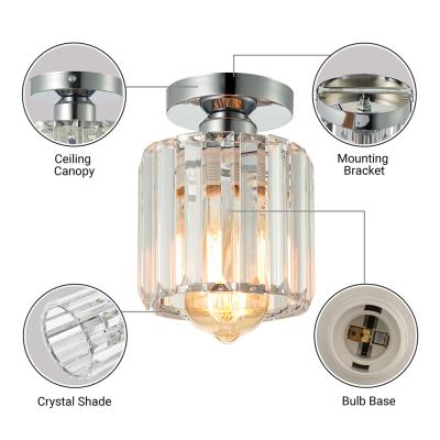 Luxurious Silver and Crystal Semi Flush Ceiling Light Makes Magnificent Impression in Any Elegant Home