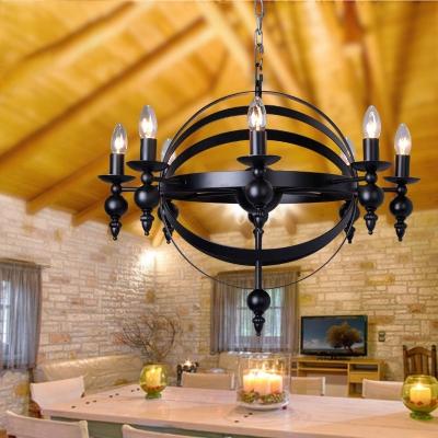 Concentric Living Room Chandelier Metal 6/8 Lights Industrial Hanging Pendant in Black