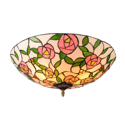 Five Light Flush Mount Ceiling Fixture with Pink Rose Pattern Tiffany Glass Shade, 20