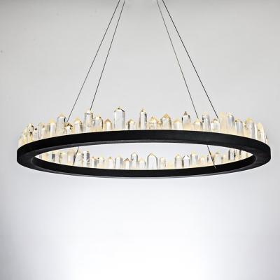 Ultra Modern LED Crystal Ring Pendant LED Ambient Warm/White Light 1 Light K9 Crystal Halo LED Chandelier in Black/Gold Height Adjustable  4 Sizes for Option