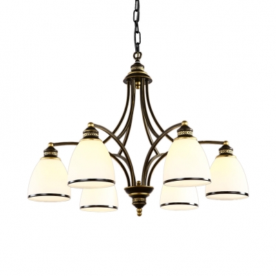 White Bell Shade Pendant Light 3/6/8 Lights Vintage Style Metal and Frosted Glass Chandelier for Bedroom