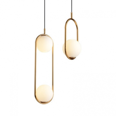 1/2 Lights Global Suspension Light with Black/Gold Oblong Metal Frame Nordic Style Pendant Lamp for Restaurant