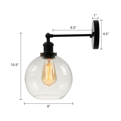 Industrial Wall Sconce with Globe Glass Shade, Black