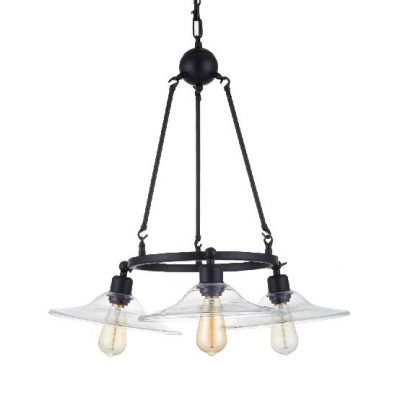 Glass Saucer Hanging Chandelier 3 Lights Industrial Pendant Lamp in Black for Kitchen