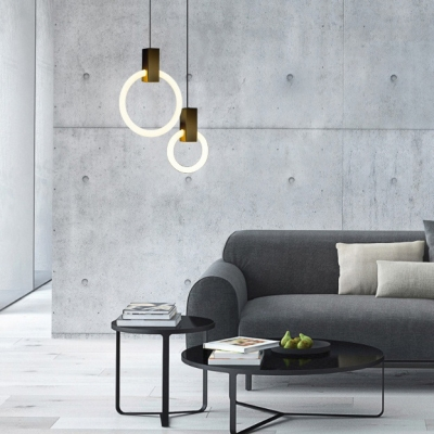 Brushed Brass Ring LED Hanging Pendant Light Post Modern Aluminum 1 Light Ceiling Pendant Lamp