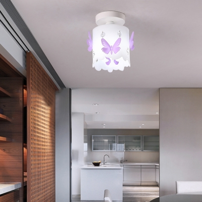 Girls Room Semi Flushmount Light Butterfly Glass Shade Ceiling Light Fixture In White Beautifulhalo Com