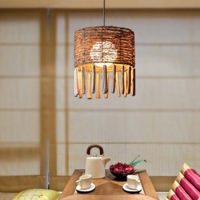 Glass Globe Hanging Light with Hand Knitted Drum Shade 1/2 Light Asian Ceiling Pendant in Brown