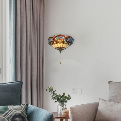 Tiffany Style 1-light Wall Sconce with Pull Rope Switch