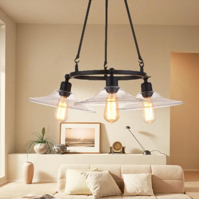 Glass Saucer Hanging Chandelier 3 Lights Industrial Pendant Lamp in