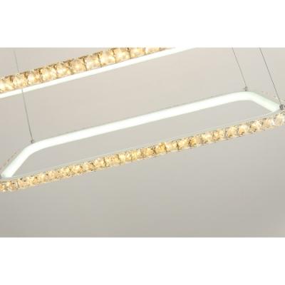 Ultra Thin 3 Tiered Rectangular LED Pendant Lighting Home Decorative Gold Crystal LED Chandelier for Girls Bedroom Living Room