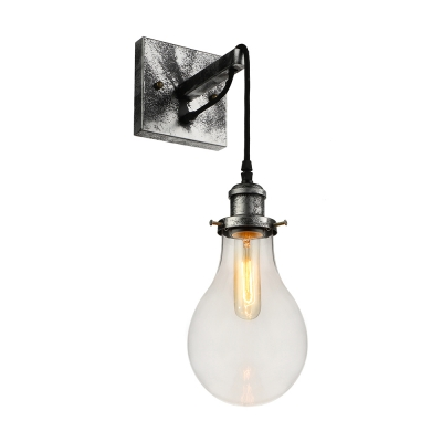 Industrial Wall Sconce with Teardrop Shape Glass Shade