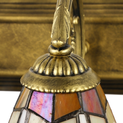 Tiffany Style Craftsman Cone Wall Light Stained Glass 3 Lights Wall Mount Light for Foyer