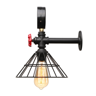 Industrial Wall Light in LOFT Valve Watermeter Decorative Pipe Style with Metal Frame, Color Option