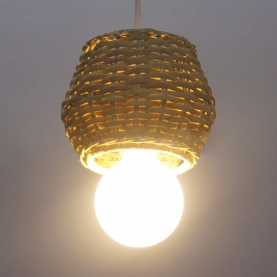 Exposed Bulb Bucket Pendant Lighting Rustic Hand Knitted Hanging Lamp in Beige with 47