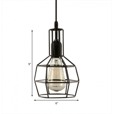 1 Light Black Hanging Pendant Light Loft Hanging Lamp with Wire Cage Guard for Living Room