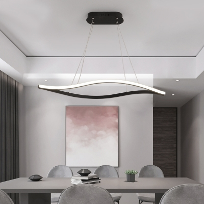 2-LED Waving Chandelier Lighting Minimalist Silica Gel Dining Room Pendant Light