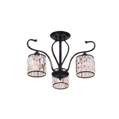 3/6 Light Cylinder Ceiling Chandelier Modern Crystal Fringe Bedroom Ceiling Lights in Black