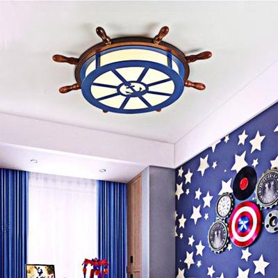Acrylic Drum Flush Ceiling Light with Wood Rudder Nautical Led Flush Mount Lamp