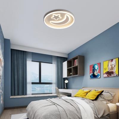 Acrylic Moon and Star Flush Mount Modern 48W Integrated Led Flush Ceiling Light