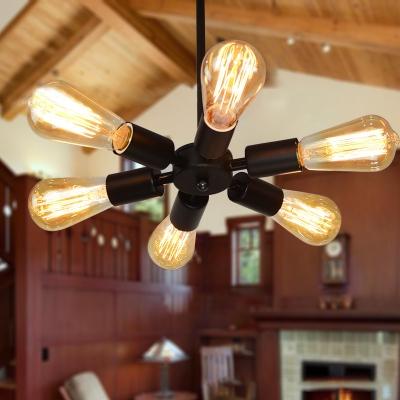 Antique Stylish Open Bulb Hanging Lamp Metallic 6 Lights Black Chandelier for Stair Hallway