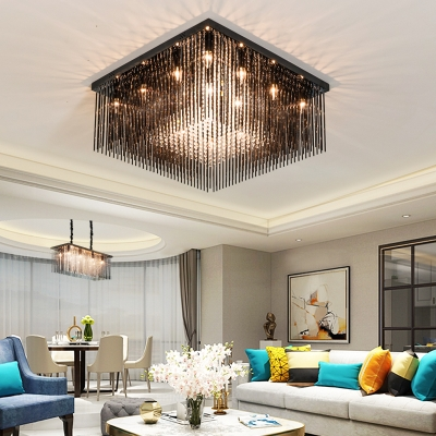 Black Squared Ceiling Fixture Contemporary Stainless Steel Crystal Ceiling Light Fixtures for Bedroom