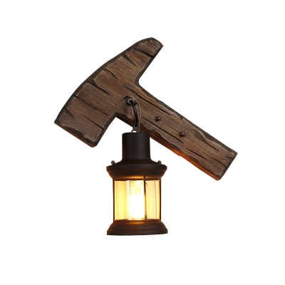 Coastal Sconce Lamp Iron and Glass 1 Head Sconce Light Fixture with Distressed Wooden Base for Restaurant
