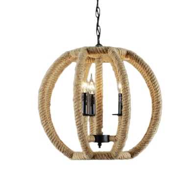 Country Style Sphere Pendant Light with Candle 3 Lights Beige Chandelier for Bistro