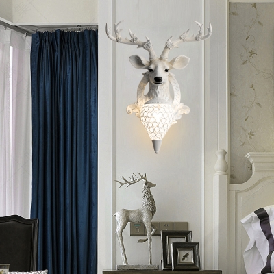 Deer Wall Lighting Country Style Resin 1 Light Sconce Light with Crystal Lampshade