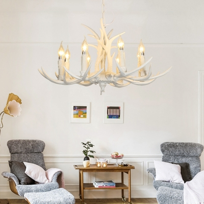 Living Room Antlers Pendant Lighting Resin White Resin Style Hanging Lamp with Candle