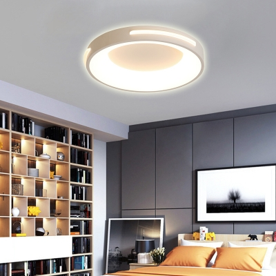 Living Room Round Flush Mounts Metal LED Contemporary White Ceiling Light Fixture